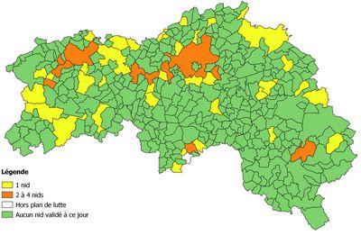Carte de répartition des destructions de nids de frelons asiatiques dans l'Orne en 2019