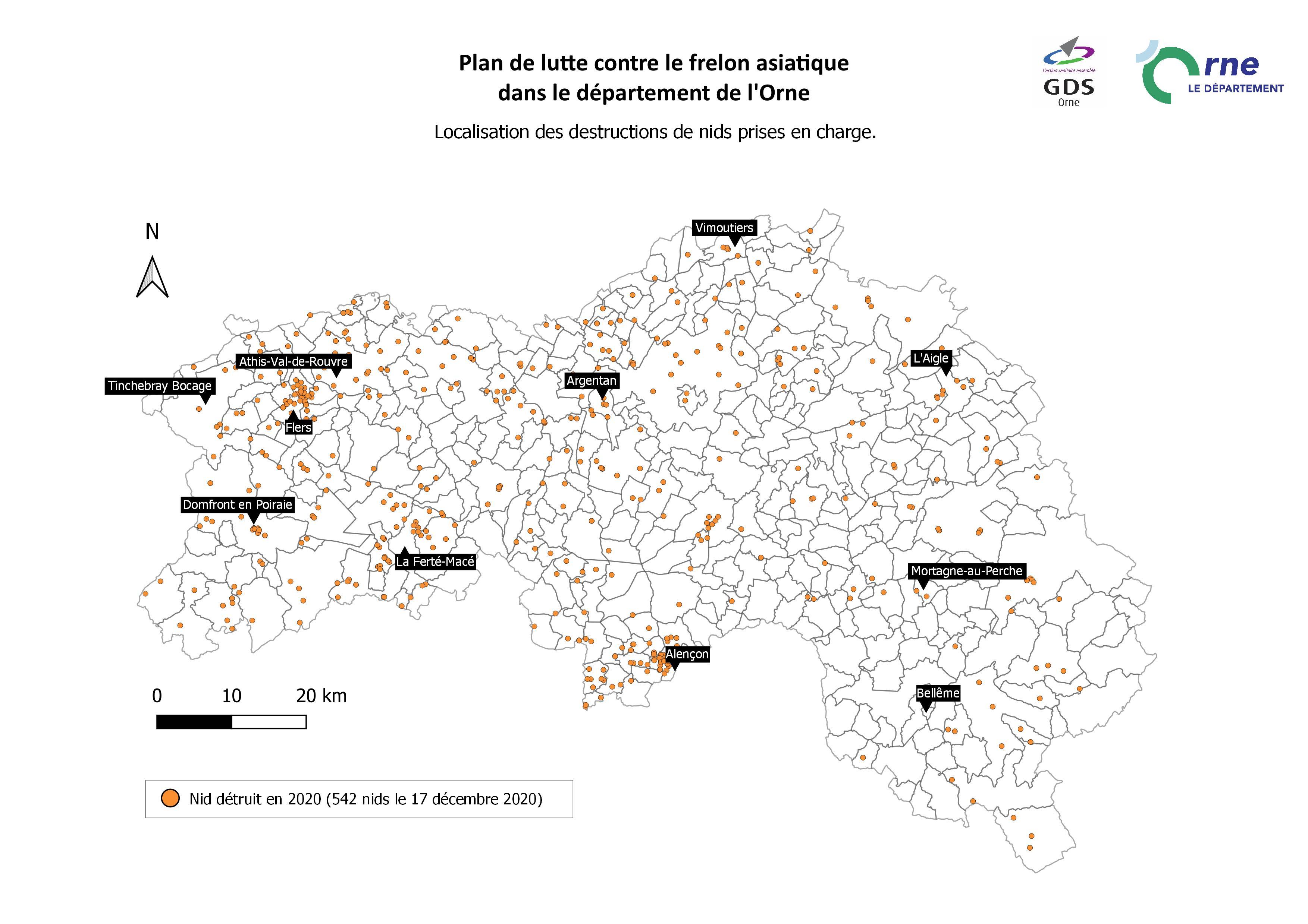 Carte de répartition des destructions de nids de frelons asiatiques dans l'Orne en 2020