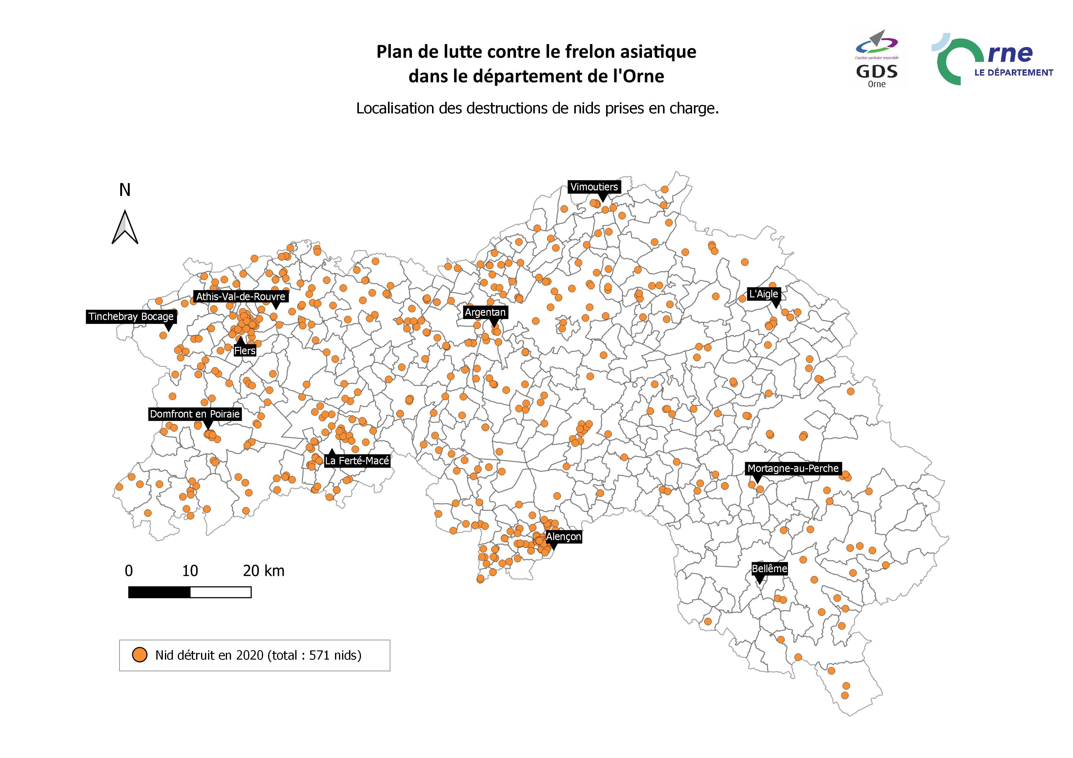 Carte de répartition des destructions de nids de frelons asiatiques dans l'Orne en 2021